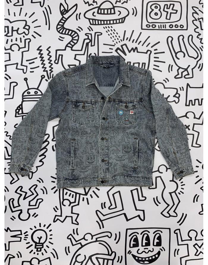 dmnd x keith haring unity denim jacket